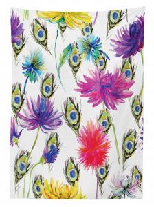 Çiçek Desenli Masa Örtüsü Mor Mavi Şık Çeyizlik