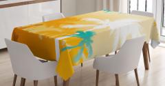 Sarı Beyaz Turkuaz Palmiyeler Masa Örtüsü Dekoratif