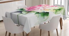 Vazodaki Pembe Çiçekler Masa Örtüsü Çeyizlik