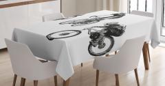Akrobat Bisikletçiler Desenli Masa Örtüsü Kara Kalem