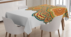 Rengarenk Üç Mandala Masa Örtüsü Dekoratif