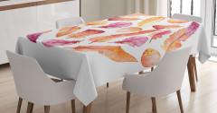 Turuncu Mor Tüyler Yapraklar Masa Örtüsü Sanatsal