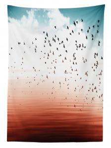 Kuş ve Deniz Desenli Masa Örtüsü Turuncu Beyaz Mavi
