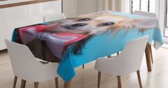 Papyonlu Köpek Desenli Masa Örtüsü Kahverengi Şık