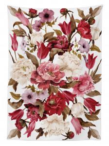 Çiçek Desenli Masa Örtüsü Pembe Kahverengi Trend