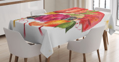 Kırmızı Çiçek ve Meyve Desenli Masa Örtüsü Trend