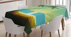 Palmiyeler ve Mavi Bant Masa Örtüsü Modern