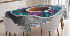 Fincan ve Mandalalı Tabağı Masa Örtüsü Modern