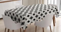Siyah Beyaz Karolar Masa Örtüsü Dekoratif