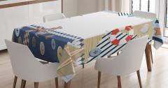 Denizcilik Temalı Masa Örtüsü Bej Beyaz Mavi Şık
