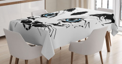 Mavi Gözlü Kedi Masa Örtüsü Dekoratif Şık