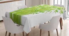 Şık Bambular Desenli Masa Örtüsü Yeşil Doğa