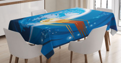 Meteor ve Mavi Dünya Masa Örtüsü Uzay