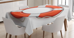 Can Simidi Desenli Masa Örtüsü Kırmızı Beyaz Şık