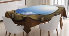 Gemi Kamarası Temalı Masa Örtüsü Kahverengi Mavi