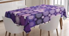 İç İçe Mor Çemberler Masa Örtüsü Dekoratif