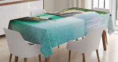 Nehir ve Tekne Temalı Masa Örtüsü Yeşil Şık Tasarım