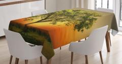 Gün Batımında Ulu Ağaç Masa Örtüsü Yeşil Doğa