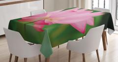 Makro Pembe Çiçek Masa Örtüsü Yeşil Doğa Şık