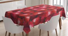 Dekoratif Çilek Desenli Masa Örtüsü Kırmızı