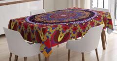 İç İçe Rengarenk Mandala Masa Örtüsü Geometrik