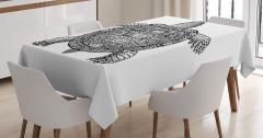 Siyah Beyaz Kaplumbağa Desenli Masa Örtüsü Dekoratif