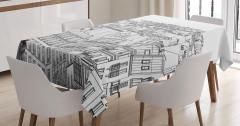 Paris Binaları Desenli Masa Örtüsü Siyah Beyaz Şık