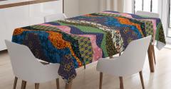 Rengarenk Kırkyama Desenli Masa Örtüsü Çiçekli Şık