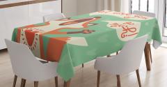 Sırılsıklam Aşık Tilki Masa Örtüsü Yeşil Turuncu