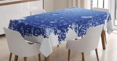 Mavi Yağmur Damlaları Desenli Masa Örtüsü Dekoratif