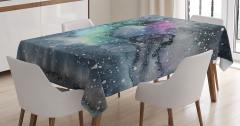 Sulu Boya Galaksi Desenli Masa Örtüsü Gri Uzay Şık