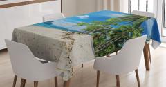 Beyaz Kumlu Plajda Tatil Masa Örtüsü Palmiyeler