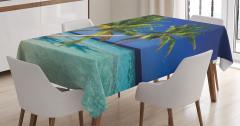 Denize Uzanan Palmiyeler Masa Örtüsü Turkuaz Deniz
