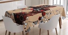 Şık Kadın Desenli Masa Örtüsü Dekoratif Dizayn