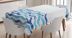 Dekoratif Dalga Desenli Masa Örtüsü Mavi Beyaz Şık