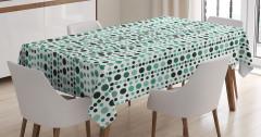 Yeşil Daire Desenli Masa Örtüsü Dekoratif Şık
