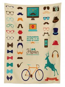 Hipster Temalı Masa Örtüsü Bıyık Gözlük Bisiklet