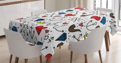 Aşk Temalı Masa Örtüsü Kalp Kırmızı Romantik Şık
