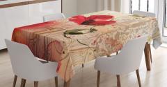 Kırmızı Çiçek Desenli Masa Örtüsü Sarı Şık Tasarım
