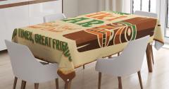 Bar Temalı Masa Örtüsü Kahverengi Yeşil Şık Tasarım