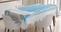 Mavi Banyo Temalı Masa Örtüsü Duş Perdesi Şık Beyaz