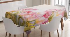 Pembe Çiçek Desenli Masa Örtüsü Şık Tasarım Çeyizlik