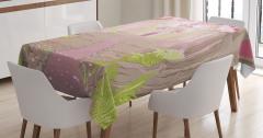Pembe Şato Temalı Masa Örtüsü Kahverengi Yeşil Ağaç