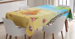 Kumdan Kale Desenli Masa Örtüsü Sarı Mavi Deniz Şık
