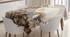 Kelebek ve Çiçek Desenli Masa Örtüsü Bej Şık Tasarım