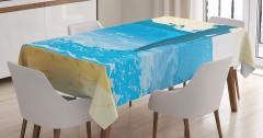 Denizdeki Kadının Silüeti Masa Örtüsü Mavi Sarı