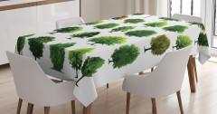 Orman Ağaçları Desenli Masa Örtüsü Yeşil Dekoratif