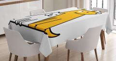 Sevimli Kedi ve Köpek Masa Örtüsü Sarı Beyaz Şık