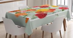 İlkbahar Çiçekleri Masa Örtüsü Çeyizlik Romantik Şık