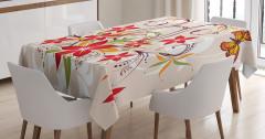 Kelebekli Çiçekli Desen Masa Örtüsü Dekoratif Şık